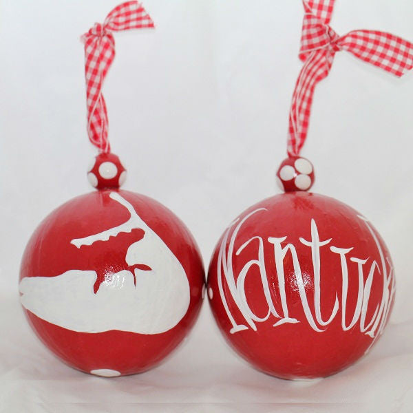 Red & White Nantucket Island Ornament