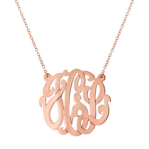 Rose Gold Hand Cut Monogram Necklace