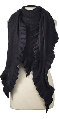 Cashmere Ruffle Triangle Wrap in Black