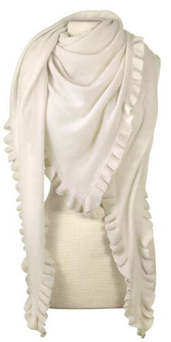 Cashmere Ruffle Triangle Wrap in Ivory
