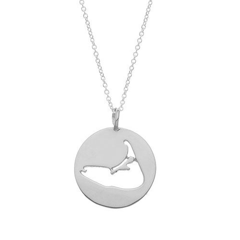 Nantucket Island Cut-Out Necklace in Silver