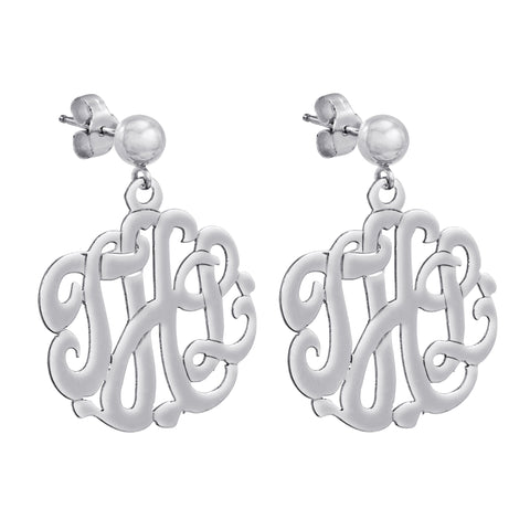 Sterling Silver Hand Cut Script Monogram Earring