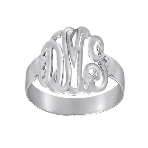 Sterling Silver Hand Cut Script Monogram Ring
