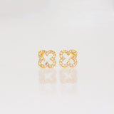 Open Mini CZ Quatrafoil Earrings - Gold