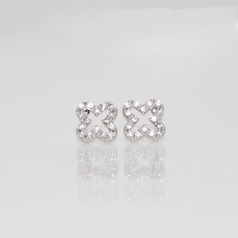 Open Mini CZ Quatrafoil Earrings - Silver