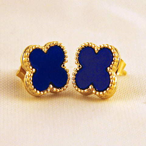 Small Quatrefoil Stud Earrings in Blue