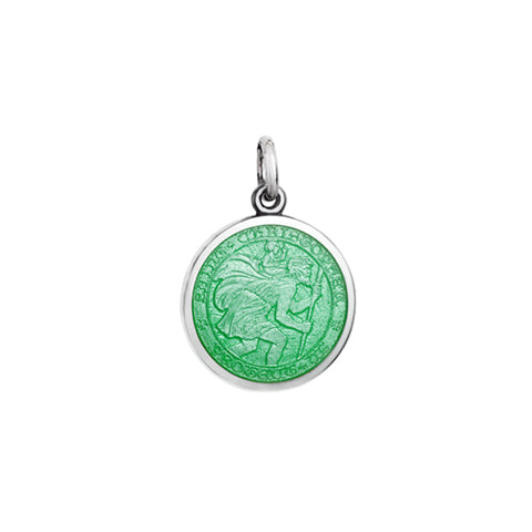 Small Colby Davis St. Christopher Charm in Light Green