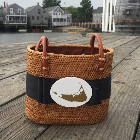 Nantucket Medium Oval Basket with Black Ribbon