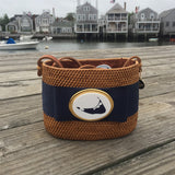 Nantucket Short Oval Basket with Navy Ribbon