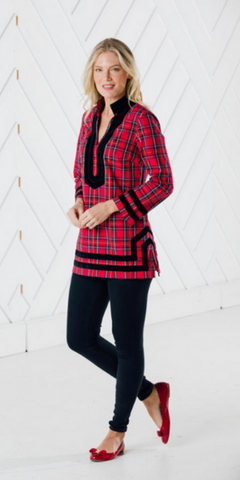 Red Plaid Tunic Top