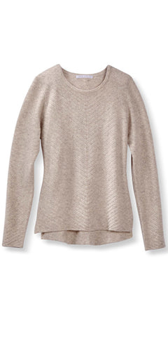 Cashmere Chevron Crew Sweater in Sand