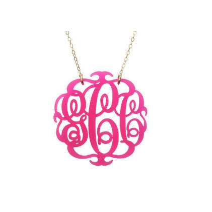 Script Monogram Acrylic Necklace