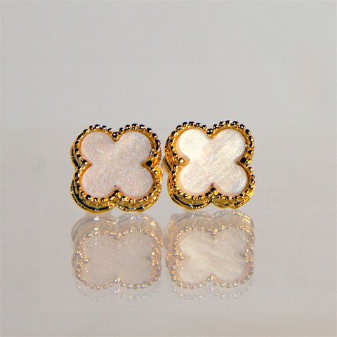 Small Gold Cream Quatrefoil Stud Earrings
