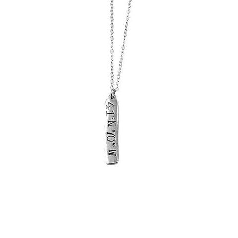 Stick Coordinates Necklace in Silver by Skar Jewerly