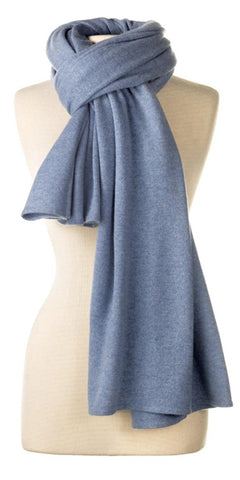 Cashmere Over-Sized Travel Wrap in Blue Mist