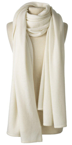 Cashmere Over-Sized Travel Wrap in Ivory