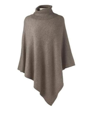 Cashmere Turtleneck Cape in Fawn