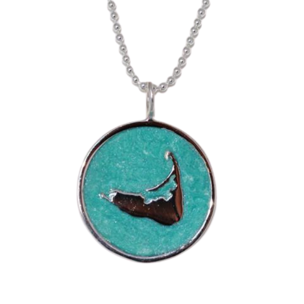 Large Enamel Island Charm Necklace in Pearlized Aqua