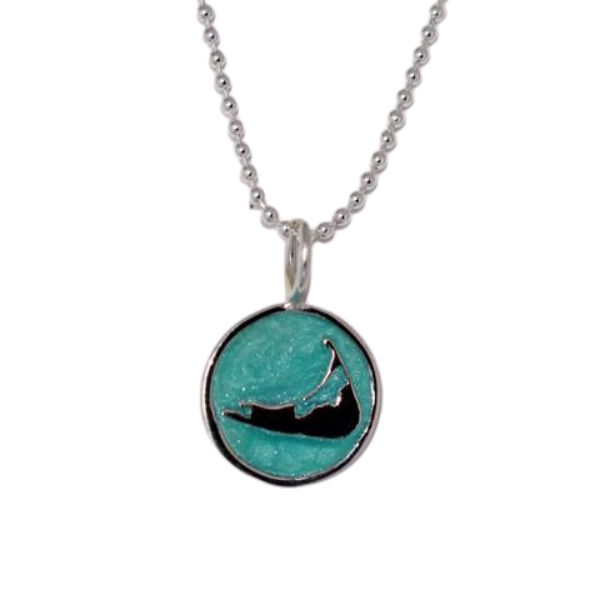 Small Enamel Nantucket Island Charm Necklace in Pearlized Aqua