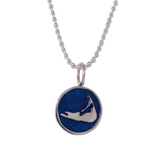 Small Enamel Nantucket Island Charm Necklace in Pearlized Cobalt