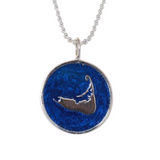 Large Enamel Island Charm Necklace in Pearlized Cobalt