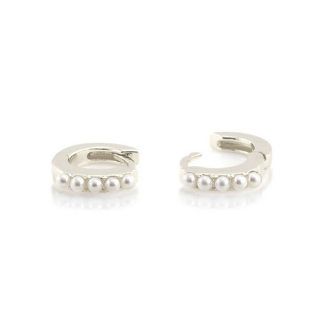 Pearl Huggie Earrings in Silver