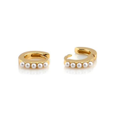 Pearl Huggie Earrings in Gold