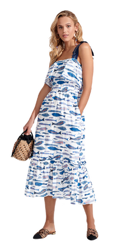 Clementine Sardines Dress in Sea Blue