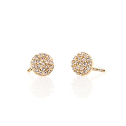 Round Pave Studs in Gold