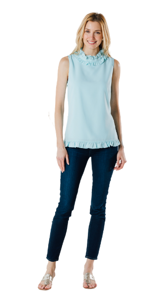 Sleeveless Double Ruffle Top in Sky