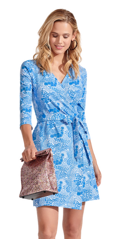 Louise Wildflower Dress in Shallow Blue