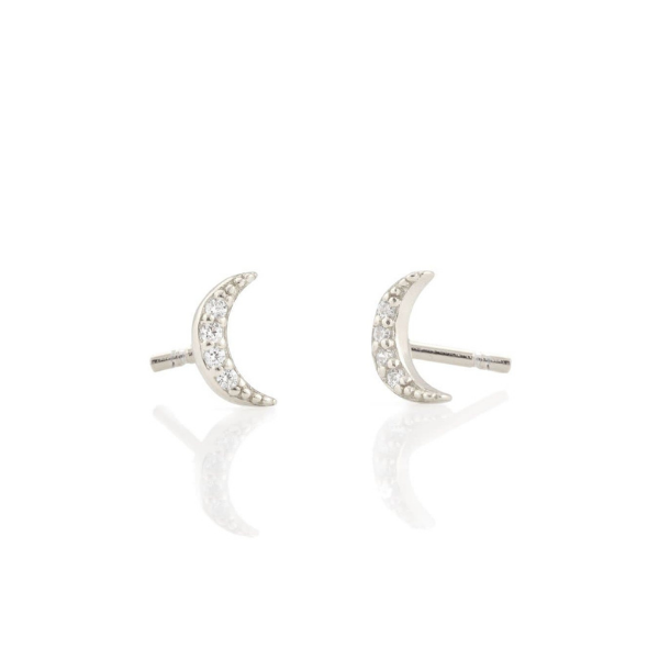 Crescent Moon Pave Studs in Silver