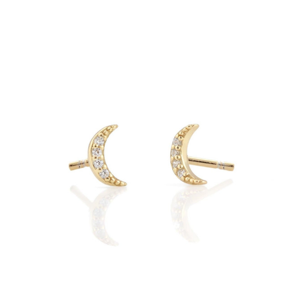 Crescent Moon Pave Studs in Gold
