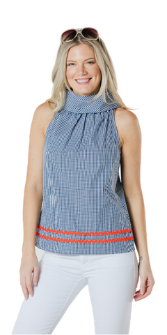 Cowl Neck Top in Navy Stripe