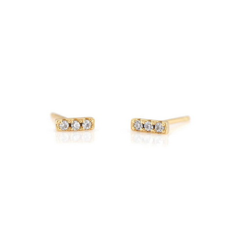 Crystal Dash Pave Studs in Gold