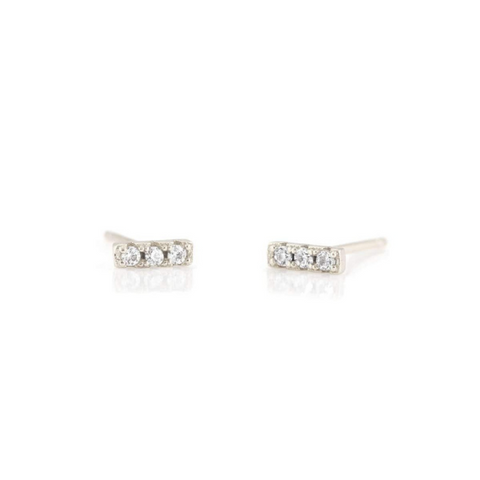 Crystal Dash Pave Studs in Silver