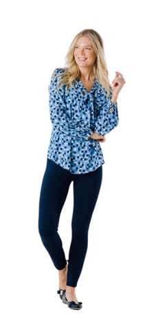 Bow Front Top in Blue Geo