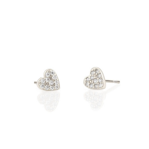 Heart Pave Studs in Silver