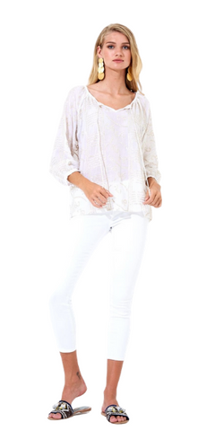 Embroidered Tassel Top in Byzantine White