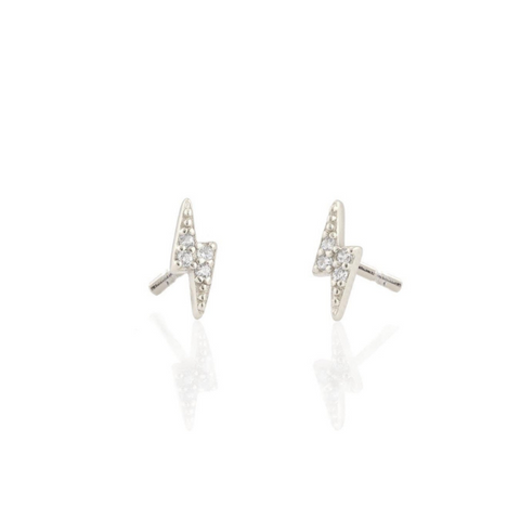 Lightning Bolt Pave Studs in Silver