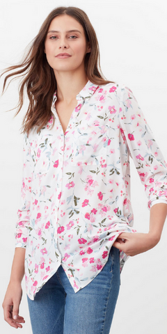 Elvina Button Front Shirt in Cream Floral