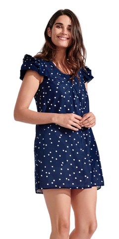 Clare Polka Dot Dress in Bleu