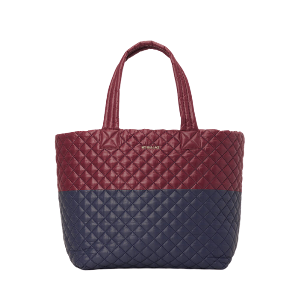 MZ Wallace Large Metro Deluxe Tote in Maroon/Dawn Navy