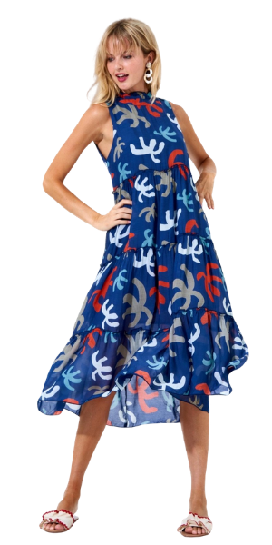 Ruffle Tiered Midi Dress in Cozumel Blue