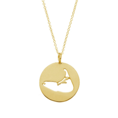 Nantucket Island Cut-Out Necklace in Gold