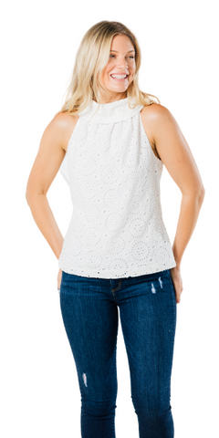 Cowl Neck Top in White Eyelet