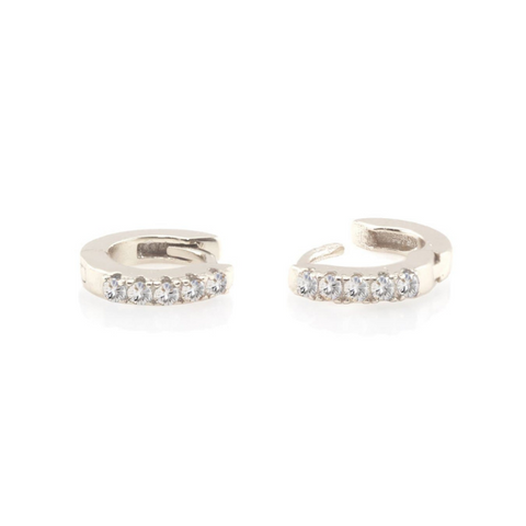 Crystal Pave Huggie Earrings in Silver