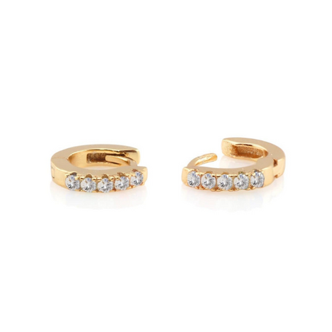 Crystal Pave Huggie Earrings in Gold
