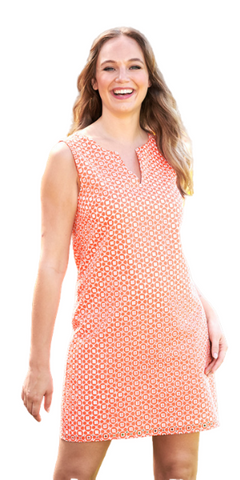June Eyelet Dress in Apricot