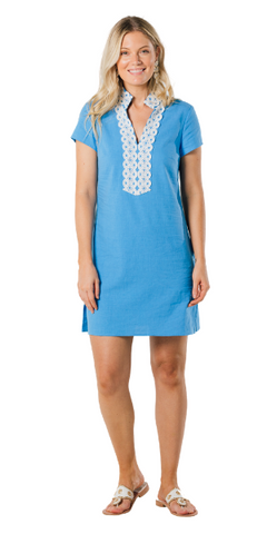 Short Sleeve Tunic Dress in Marina Blue